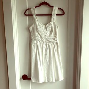 Express White Dress with Ruched Top